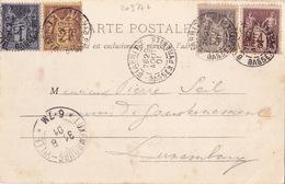 20377# SAGE BEL AFFRANCHISSEMENT CARTE POSTALE Obl BIARRITZ BASSES PYRENEES 1901 ATLANTIQUES Pour LUXEMBOURG - Marcophilie (Lettres)