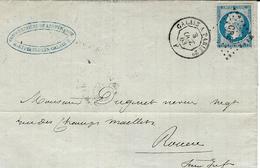 1863 - Lettre  Cad AMB.  CALAIS A  PARIS 2°  F   Jour    Affr. N°14 Oblit.  Los.  C P 2° - Poste Ferroviaire