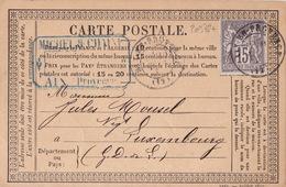 20378# SAGE Type II CARTE POSTALE PRECURSEUR Obl AIX EN PROVENCE BOUCHES DU RHONE 1877 Pour LUXEMBOURG - Marcofilia (sobres)