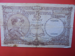 BELGIQUE 20 FRANCS 1928 CIRCULER (B.6) - [ 2] 1831-... : Reino De Bélgica