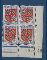 """FR Coins Datés  YT 834 """" Armoiries De Bourgogne """" Neuf** Du 19.9.1949 - 1940-1949"""
