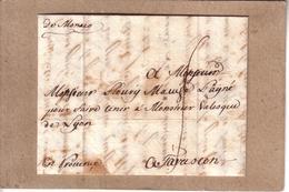 ITALIE - LETTRE DE PORT MAURICE ACHEMINEE PAR UN VOYAGEUR POSTEE A MONACO AVEC MARQUE MANUSCRIT POUR TARASCON - 1752 - Monaco