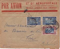 20384# LETTRE PAR AVION COMPAGNIE GENERALE AEROPOSTALE Obl SAINT LOUIS SENEGAL 1928 Au Dos DAGUIN VIRE CALVADOS - Sénégal (1887-1944)