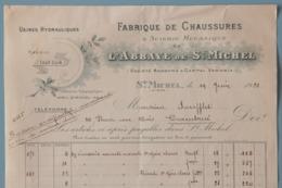 02 AISNE SAINT MICHEL FACTURE FABRIQUE DE CHAUSSURES 1920 - France