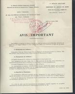 MILITARIA DOCUMENT MILITAIRE 1er RÉGION DIRECTION SANTÉ HÔTEL DES INVALIES PARIS TAMPON LE MEDECIN COLONEL MAROT AVIS : - Documenten