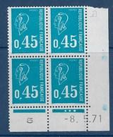 """FR Coins Datés YT 1663 """" Marianne Béquet 45c. Bleu """" Neuf** Du 8.5.1971 - Dated Corners"""