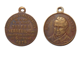 MEDAILLE ADOLPHE THIERS 1878 INAUGURATION VERNEUIL EURE - France