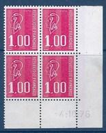 """FR Coins Datés YT 1892 """" Marianne Béquet 1F00 Rouge """" Neuf** Du 4.10.1976 - Dated Corners"""