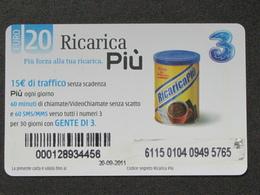 ITALIA 3 - RICARICA PIU' SCAD. 20-09-2011 - USATA - Italia