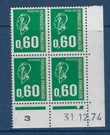 """FR Coins Datés YT 1814 """" Marianne Béquet 60c. Vert """" Neuf** Du 31.12.1974 - Dated Corners"""