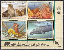 UNO-New York, 2008, 1079/82,  MNH **,  Gefährdete Arten (XVI): Meerestiere. - New York -  VN Hauptquartier