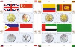 UNO-New York, 2008, 1083/90,  MNH **,  Flaggen Und Münzen Der Mitgliedstaaten. - New York -  VN Hauptquartier