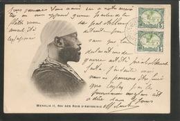 Carte Précurseur 1904 -- Menelik II Roi Des Rois D'Abyssinie -- Belles Oblitératiions - Cachet Perlé - Beaux Timbres - - Äthiopien