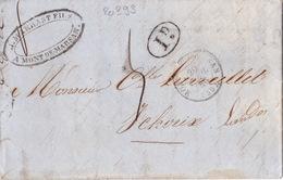 20393# LETTRE DECIME RURAL NOIR Obl MONT DE MARSAN 1846 T15 LANDES Pour YCHOUX Par LIPOSTHEY T14 - Marcophilie (Lettres)