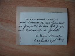 Andre Legrand  Faire Part Manuscrit Avis Fiancaille Fils Le Verger Chavroches Et Rue Serpentine - Mitteilung