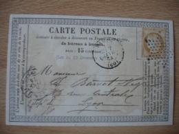 1874 Carte Postale Precurseur Bureau A Bureau Paris 60 Etoile Timbre Ceres  15 - 1849-1876: Période Classique