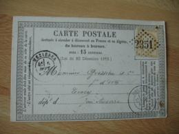 Carte Postale Precurseur Bureau A Bureau Mezieres  Gros Chiffre 2351 Timbre Ceres 15 C - 1849-1876: Période Classique