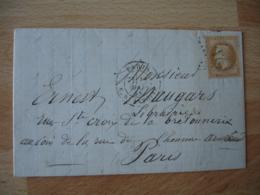 1868 Paris  Bld Saint Antoine Etoile 21 Timbre Empire Francais 10 C Marron - Marcophilie (Lettres)
