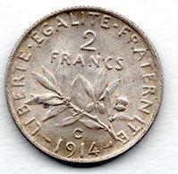 Semeuse -  2 Francs 1914 C  -  état  TTB+ - France