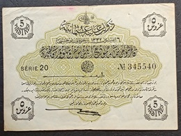 FF - Turkey Banknote Law Of 6 August AH1332 (1916-1917) 5 PIASTRES SERIE 20 N.345540 - Turquia