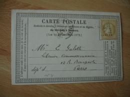 1873 Carte Postale Precurseur Bureau A Bureau Gros Chiffre 3156 Timbre Ceres 15 C - 1849-1876: Période Classique