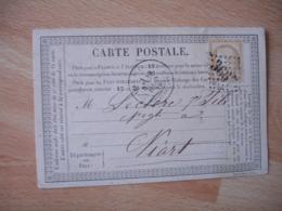 Carte Postale Precurseur Bureau A Bureau Saint Jean D Angely Cachet Type 18  Gros Chiffre 3667 Timbre Ceres 15 C - Marcophilie (Lettres)
