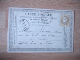 Carte Precurseur   Bureau A Bureau Gros Chiffre 3356 Segre Cachet Type 18  Timbre Ceres 15 C 15 C - Marcophilie (Lettres)