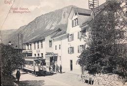 "Switzerland....ENGI......"" Hotel Sonne, J. Baumgartner "" .....Street Scene, Trolley....ca. 1910 - Suiza"