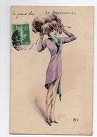 Illustrateur MILLE * FEMME ELEGANTE * GRANDE CHIC DE COURBEVOIE * EPINGLE CHAPEAU * PLUME * DESSIN - Mille