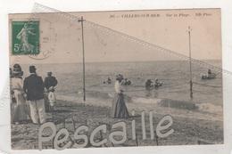 14 CALVADOS - CP ANIMEE VILLERS SUR MER - SUR LA PLAGE - ND PHOT N° 205 - CIRCULEE EN 1913 - Villers Sur Mer