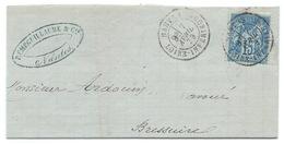 15c SAGE SUR LETTRE NANTES POUR BRESSUIRE 1879 - Postmark Collection (Covers)