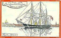 DK040,  * FREGATTEN JYLLAND * HILSEN FRA LANDSUDSTILLINGEN ÅRHUS 1909 * CARTON POSTCARD - Danemark