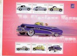 Ghana -  Classic Cars- Porsche-Rolls Royce-Austin Healey-Mercedes-Citroen 2CV-Cadillac -  Large 6v Sheet Neuf/Mint/MNH - Automobili