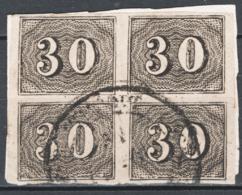 Brasile 1850 Y.T.13 Block Of 4 O/Used VF/F - Brésil