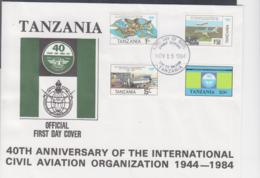 TANZANIA - 1984- ICAO  SET OF 4 ON ILLUSTRATED FIRST DAY COVER - Tanzania (1964-...)