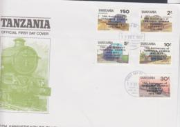 TANZANIA - 1987- RAILWAY LOCOMOTIVES SET OF 5  ON ILLUSTRATED FIRST DAY COVER - Tanzania (1964-...)