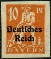 DT. REICH 1920, Nr. 120U, 10 Pf., UNGEZÄHNT, UNGEBRAUCHT, BPP SIGN. Mi. 35,- TOP - Allemagne