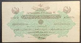 FF - Turkey Banknote Law Of 18 October AH1331 (1915-1916) 1/4 LIVRE SERIE D N.348574 - Turquia