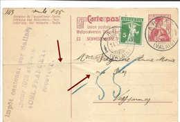 VALAIS,  ARBAZ 1913, Sur Entier Chocolat Suchard, WALLIS. Défauts, Plis Verticaux Et Horizontaux Bien Marqués. - Ganzsachen