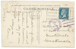 1fr PASTEUR SUR CARTE POSTALE VERSAILLES / HOTEL DE VILLE / POUR GUATEMALA / 1926 / DESTINATION RARE - 1921-1960: Periodo Moderno