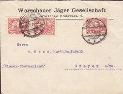 Poland WARSCHAUER JÄGER GESELLSCHAFT, WARSZAWA 1926 Cover Brief MUNITIONSFABRIK, SPEYER (Arr.) Germany - 1919-1939 République