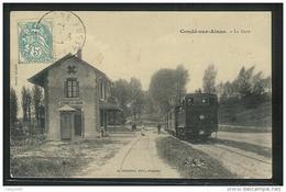 CPA 02 Condé Sur Aisne La Gare Et Le Train Tramway Ligne De Soissons Rethel C B R - Autres Communes