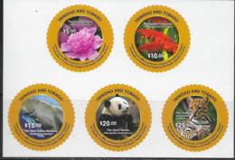 TRINIDAD AND TOBAGO, 2019, MNH,DIPLOMATIC RELATIONS WITH CHINA, FAUNA, FLORA, FLOWERS, PANDAS, MANATEES, OCELOT, SLT - Orsi