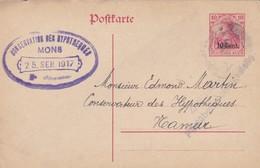 Carte Entier Postal OC29 Conservation Des Hypothèques Mons à Namur Cachet Censure Militaire - Oorlog 14-18