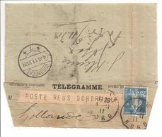 1911 Télégramme Lille 4.11.11 Vers Pays Bas Dordrecht TP Semeuse 25c RARE - 1877-1920: Semi-Moderne