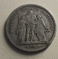 1871 - France - 5 FRANCS, HERCULE, (K), IIIè République, Argent, Silver, Rare, 74 609 Ex, KM 820.2, Gad 745 - J. 5 Franchi