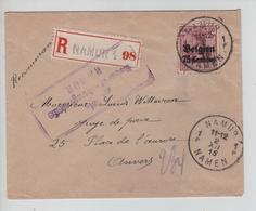 CBPND26/ TP Oc 6 S/Recommandée C.Namur 2/12/15 Censure Namur > Anvers - Guerra 14 – 18
