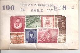 Chili Pochette De 100 Timbres Oblitérés - Chili