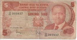 Billet Du Kenya—5 Shillings—1982—Etat Moyen - Kenya