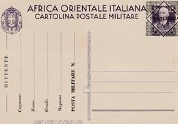 Italian East Africa, 15 Cent Military Postcard Opt FRANCHIGIA, Unused - Italian Eastern Africa